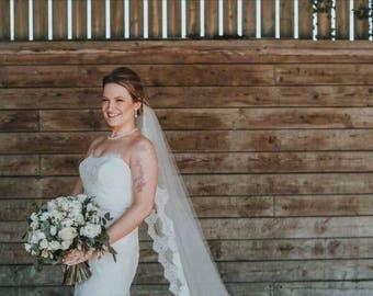 April Cathedral Length Lace Trimmed Veil - Wedding Accessories - Bridal Veil - Custom Wedding Veil
