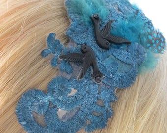 Blue lace headband fascinator