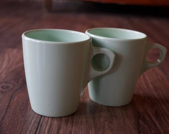 Vintage Mint Green Coffee Mugs//Melamine//1940s