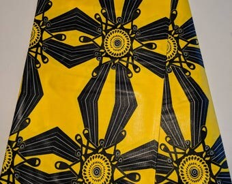 Yellow and black Ankara fabric, African Wax Cotton fabric, Java Wax African Print, African Ankara, sold by the yard