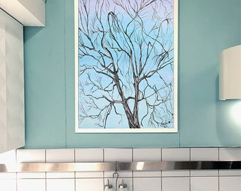 New York Abstract Tree Painting Canvas Prints Unframed Wall Art Home Decor Blue Decor Unique Gift
