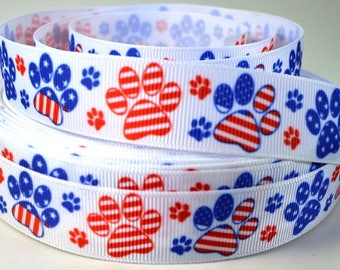 "Dog Ribbon - Paw Print Ribbon - Patriotic Paw Prints - 7/8"" Grosgrain Ribbon"