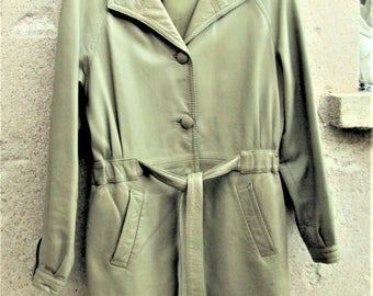 Vintage Leather Jacket, green coats, leather clothing, 1980's clothing, high quality leather