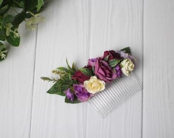 Purple flower hair accessories bridal floral headpiece lilac floral hair clip wedding purple bohemian hair comb for wedding floral headpiece