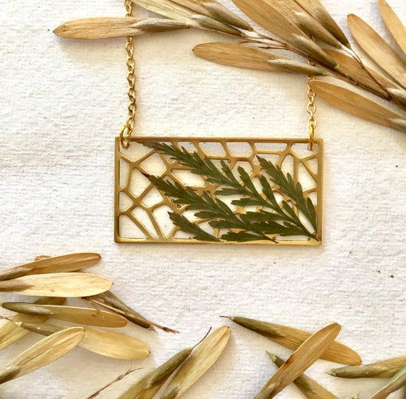 Brass filigree rectangle with Tansy leaves necklace