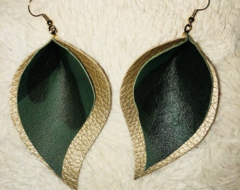 Camoflauge & Gold leather earrings