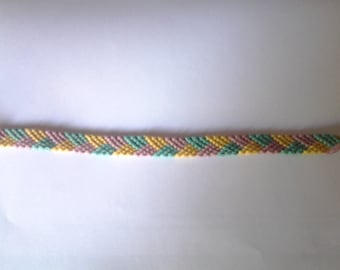 Braided Friendship Bracelet pink green yellow