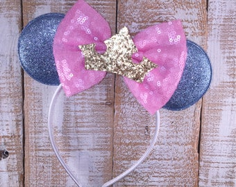 Princess Aurora Inspired  Minnie Ears, Minnie Ears, Sleeping Beauty Inspired Headband, Girls Birthday Headband, Bachelorette Party