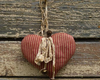 Fabric hearts wall hanging decor primitive heart decoration cotton country Valentine's gift vintage style fabric heart shabby chic