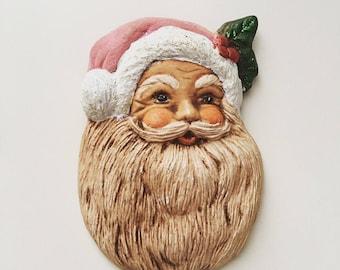 Vintage Santa face hand-paint pottery brooch