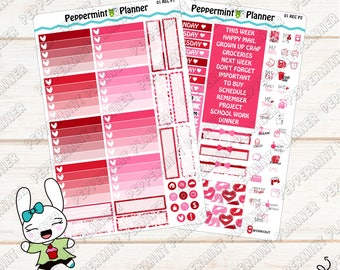 Valentine Weekly Planner Kit --- Planner Stickers --- For use with the Mini Rec Vertical --- MREC01