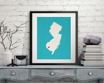 Custom New Jersey State Art, Customized State Map Art, Personalized, New Jersey Art, Heart Map, New Jersey Map, Love Map, New Jersey Print