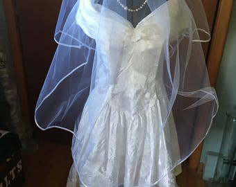 Vintage 1980's Alfred Angelo White Mini Wedding Dress