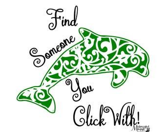 Find Someone Filigree Dolphin SVG