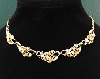 """Signed Coro Set - Gold tone Choker + Earrings Necklace is Adjustable from 14-16.5"""" (36-43cm)"""