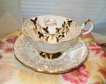 Queen Anne Wedding Anniversary Tea Cup Bone China Made in England Gold and White Tea Cup