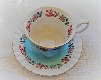 Royal Albert Bone China English Teacup Aqua Turquoise and White Fluted
