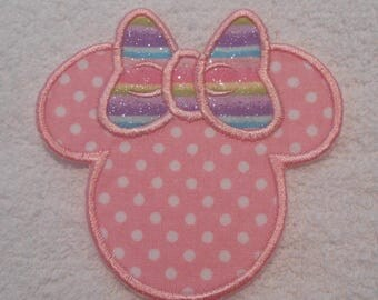 Pink Polka Dot Minnie Mouse Iron on Applique Patch