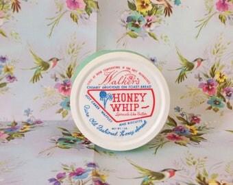 1950s walker's honey whip mint green glass jar with lid / vintage honey jar / vintage honey spread jar / vintage glasbake jar