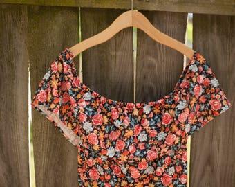 Vintage Women's Off the Shoulder Floral Dress