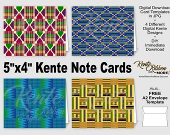 DIY - Printable Digital Kente Note Card Set - 5x4 after folded - Print on 8.5x11 and trim - FREE A2 Envelope Template - Immediate Download