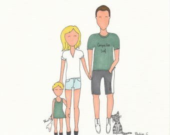 3 + 1 animal - personalized family - to order - (size A4)