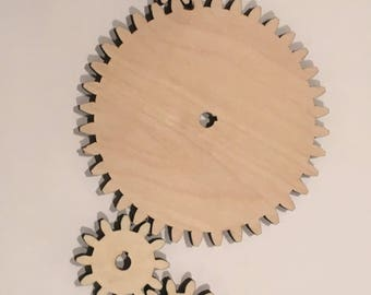 Laser Cut Wooden Gears, Size Interchangable