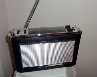 SALE! 1970s Portable Bush Radio Model VTR 330 Long Wave/ Medium Wave / VHF. Covered In Black Leather.