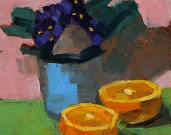 """Small Still Life Oil Painting """"African Violets and Orange"""" 6x6 Original Art on Paper"""