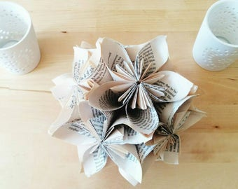 Origami Kusudama Flower Ball Centrepiece, Handmade Wedding Decor, Literary Wedding, Bookish Gift for Her