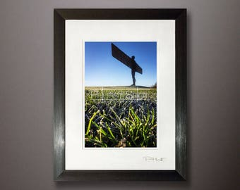 Landscape Angel of the north framed print, winter photography, Landscape shot, Fine art photography, frozen field photo, silhouette image