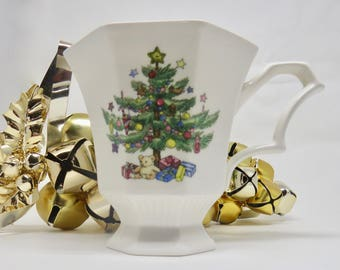 "Nikko Christmas Mug ""Classic Collection"" featuring Christmas Tree Teddy Bear and Presents Made in Japan Christmastime/Holiday Gift"