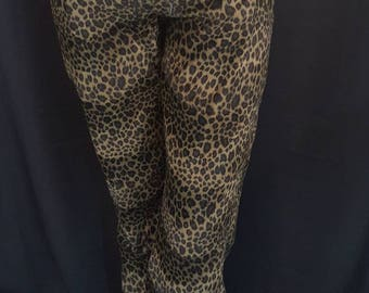 Vintage 70s Rockstar CREATURESKINS Rock Star Rare Velvety Cheetah Animal Print Pants with Leather Waistband Grommets