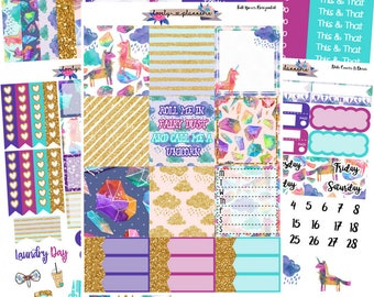 HORIZONTAL KIT, Unicorn Dreams Kit, Made for Use With Erin Condren Life Planners, EC Horizontal, Planner Stickers, Sticker Kit