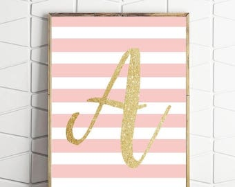 70% OFF SALE Avpink print, A monogram printable, monogram printable art, monogram wall art, digital download A, letter A art print, letter A