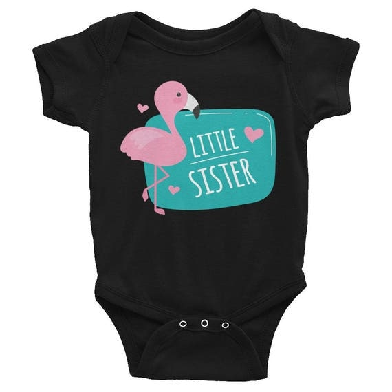Flamingo Little Sister Infant Bodysuit, Little Sister Bodysuit, Baby Shower Gift, Infant Body Suit, Little Sister T-Shirt, Little Sister Top