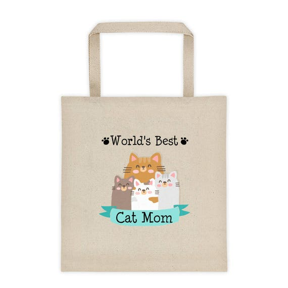 World's Best Cat Mom Tote Bag, Cat Tote Bag, Gifts For Cat Owner, Funny Cat Tote Bag, Cat Lover, Cat Canvas Tote Bag, Cat Lover Tote