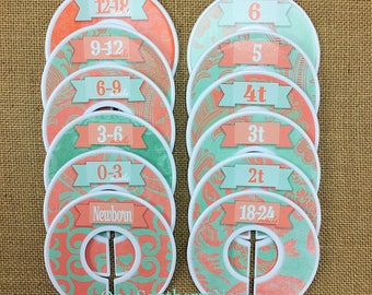 Closet Dividers, Baby Shower Gift, Newborn Baby Gift, Baby Girl Gift, Infant, Toddler, Child, size dividers, Coral and Mint Damask
