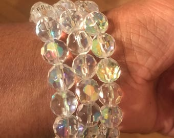 Crystal faceted glass bead bracelets!