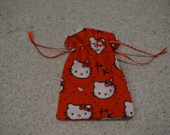 Drawstring Hello Kitty Reusable Favor Bags/Party/Baby Shower /All Occasions Favor Bags -100 % cotton