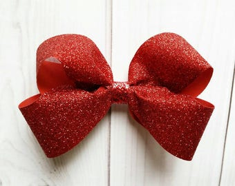 Christmas Hair Bow/Solid Red Hair Bow/Red Glitter Hair Bow/Red Sparkle Hair Bow/Solid Red Hair Clip/Christmas Hair Clip/Seasonal Hair Bow