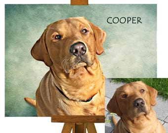 Custom Pet Portrait on Canvas of Your/Friends/Family Dog From Their Photos, Dog Painting Pet Portraits, Bespoke Personalised Pet Portrait UK