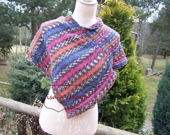 warmer, hand-knitted poncho