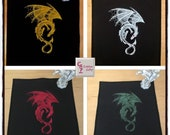 Dark Eerie Dragon Embroidered Sew On Patch | Medieval | Fantasy | Multiple Colors Available | Dragon