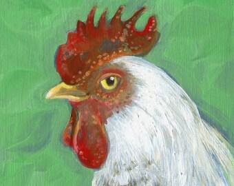 Chicken Portrait, Print of original oil painting, Bird painting, Kitchen wall art, Bird Art, Chicken art, Poultry Painting