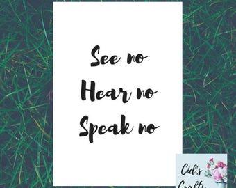 See no, hear no, speak no Print A4