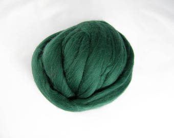 Pine Green Merino Roving - 21.5 Micron - Next to Skin Softness - Vibrant, Rich Colour