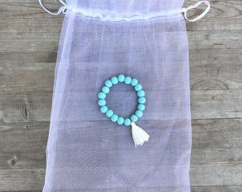 Boho Chic Wooden Tassle Bracelet