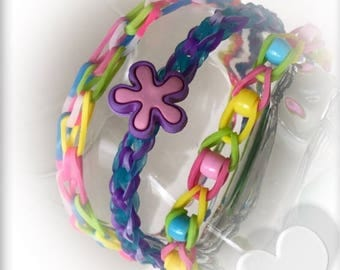 Fun Loom  Rubber Silicon Bands  Groove Candy Trio Rainbow Bracelet~ We Take orders For Party Favor  At A Reduce Price ~