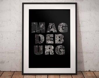 Magdeburg - A4 / A3 print - MapInBlack